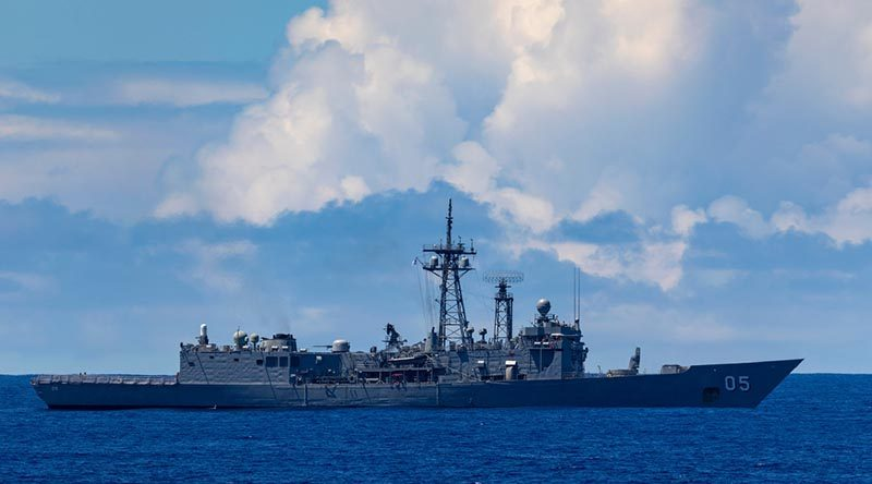 Royal Australian Navy ship, HMAS Melbourne during Exercise Pacific Vanguard 19. Photo by Leading Seaman Ronnie Baltoft.