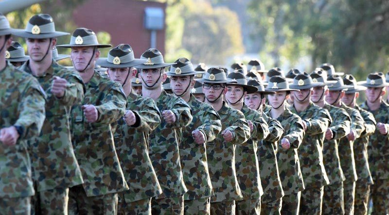 Australian Army recruits in training at 1st Training Battalion, Kapooka, NSW. 1RTB photo.