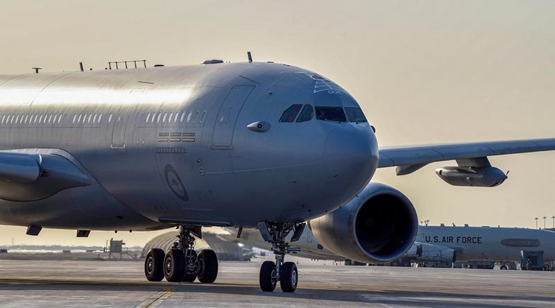 A Royal Australian Air Force KC-30A Multi Role Tanker Transport lands at the main air operating base in the Middle East Region. Photo by Tech Sergeant Jocelyn A Ford.