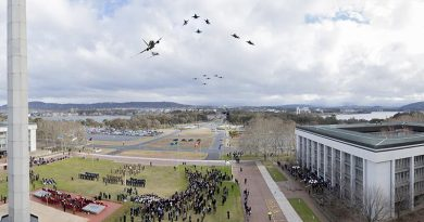 Digitally-altered/fake photo of mass flypast over Blamey Square, Canberra.