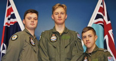 Potential DA40 NG pilots Leading Cadet Hudson Elliott, 609 Squadron, Warradale Barracks, and Cadet Corporal Michael Yelland and Leading Cadet Tristan Hahn, both 605 Squadron, Lonsdale. Photo by Flying Officer (AAFC) Paul Rosenzweig.
