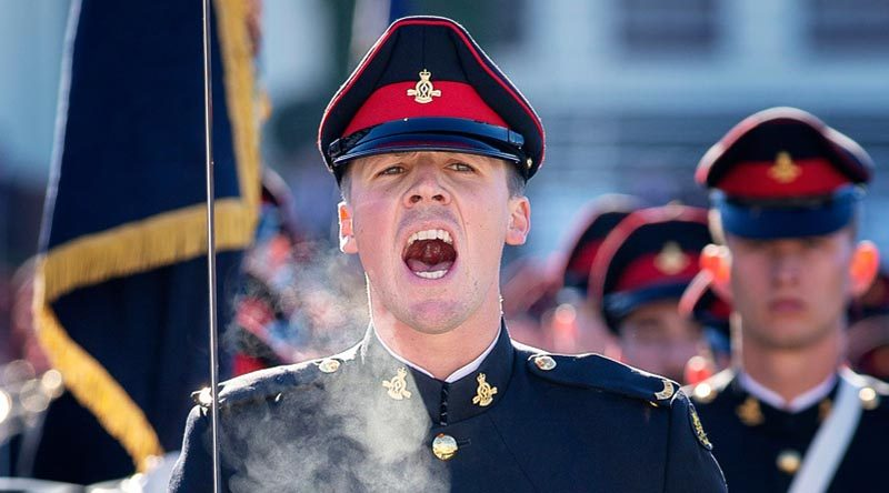 An Officer Cadet from the Royal Military College – Duntroon commands his company during the 2019 mid-year graduation parade. Photo by Corporal Tristan Kennedy.