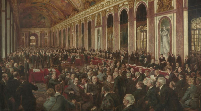 A painting by Joseph Finnemore in 1919 to commemorate the signing of the peace treaty in Versailles, capturing a moment during the signing ceremony in the Hall of Mirrors in the Palace of Versailles. Oil on linen, 165 x 247cm. Australian War Memorial ART16770.