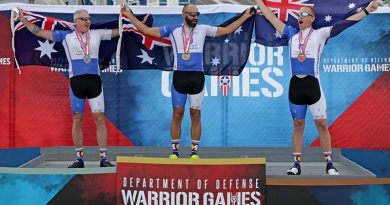 RAAF Flight Sergeant Ben Morgan (right), celebrates winning bronze in an Australian clean sweep of the cycle street race with (from left) silver medallist Jason McNulty and gold medallist Tim Grover at the Warrior Games 2018. Photo by Leading Seaman Jason Tufrey