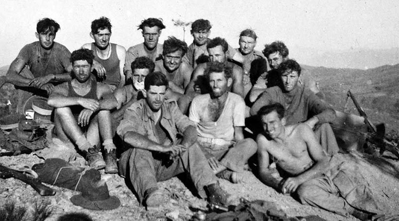 Survivors from 5 Platoon, B Company, 3RAR, after the Battle of Maryang San, October 1951. AWM P04953.002