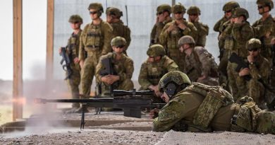 Australian Army Corporal Bradley Rawnsley, deployed with Task Group Taji 9, fires an AW50 sniper rifle during weapons familiarisation drills at the Taji Military Complex, Iraq. Photo by Corporal Nunu Campos.