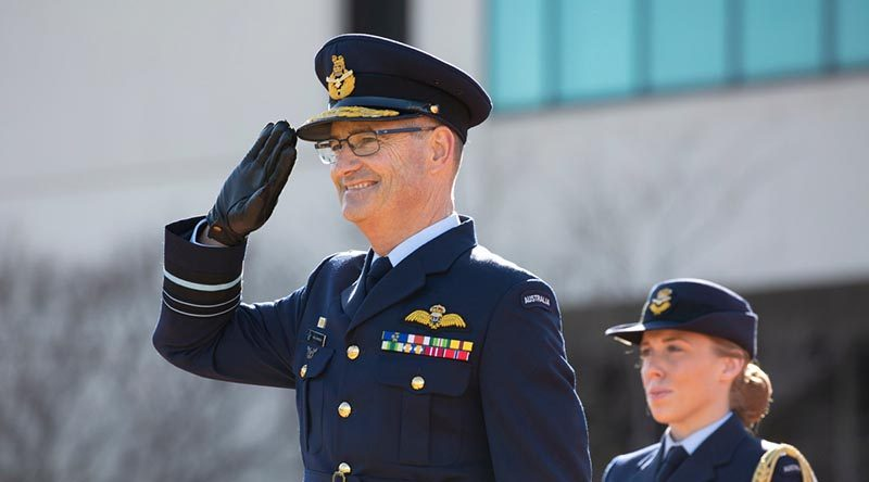 Chief of Air Force Air Marshal Mel Hupfeld returns his first general salute as Chief of Air Force. Photo by Sergeant Brett Sherriff.