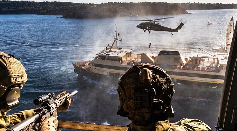 Australian Army soldiers from 2nd Commando Regiment secure a Sydney ferry in Middle Harbour, New South Wales, during counter-terrorism training. Photo by Corporal Kyle Genner.