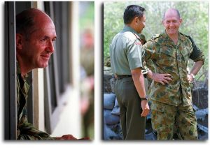 Two of my favourite photos of Major General Peter Cosgrove, both taken at Batagude, East Timor during respites from negotiations over border protocols. Photos by Corporal Brian Hartigan for ARMY newspaper.