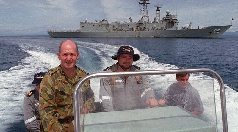 Major General Peter Cosgrove is whisked ashore from HMAS Melbourne in Dili Harbour after a brief visit. Photo by Corporal Brian Hartigan for ARMY Newspaper.