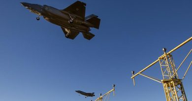 F-35A Joint Strike Fighters from No.3 Squadron conduct instrument-landing-approach training at RAAF Base Richmond. Photo by Sergeant Christopher Dickson.