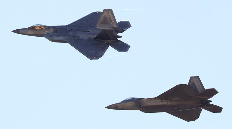 Two F-22 Raptors flying at RAAF Base Amberley during Exercise Talisman Sabre 2019. Photo by Christabel Migliorini.
