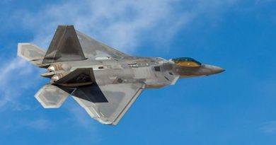 A United States Air Force F-22 Raptor conducts a low pass at Nellis Air Force Base, Nevada, during an Exercise Red Flag 19-1. Photo by Corporal David Cotton.