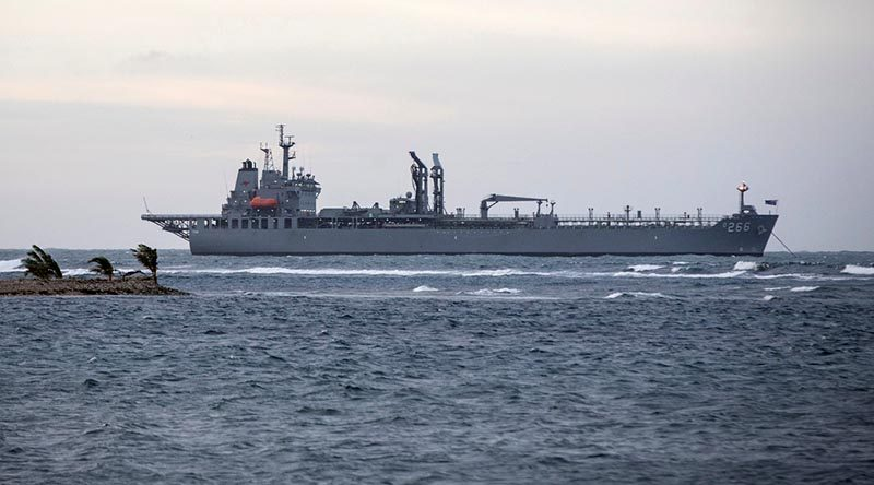 HMAS Sirius at anchor off the coast of Samoa. Photo by Corporal Jessica de Rouw.