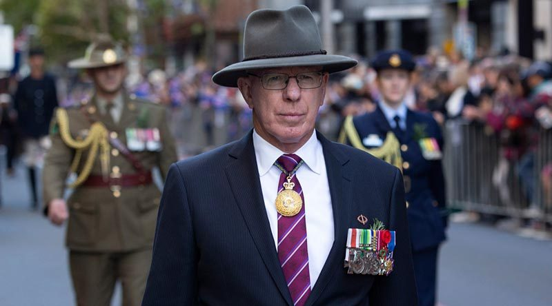 Then Governor of NSW General David Hurley leads the ANZAC Day parade through Sydney. Photo by Chief Petty Officer Cameron Martin.