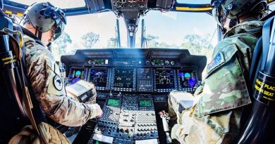 An Australian Army officer co-pilots a Royal New Zealand Air Force NH90 helicopter with a New Zealand pilot from No. 3 Squadron RNZAF during Exercise Talisman Sabre. NZDF photo.