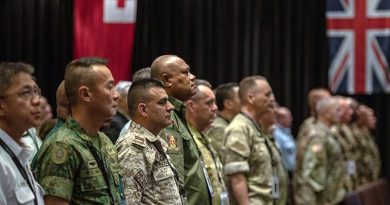 Delegates from Australia, Fiji, Jordan, Papua New Guinea, Tonga, Singapore, the United Kingdom and the United States at the opening ceremony of the Senior Enlisted Leaders Conference 2019 (SELCONF19) hosted by the New Zealand Army. NZDF photo.