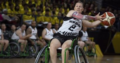 Major Kiely Pepper, who has been named in the New Zealand Defence Force Invictus Games team to compete in The Netherlands next year, competing in the 2018 Games in Sydney. NZDF photo.