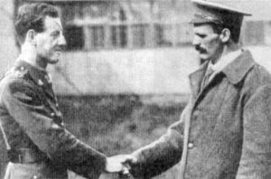 Private Martin O'Meara VC, 16th Bn AIF, (right), meets Lieutenant Albert Jacka VC MC, 14th Bn, sometime after the Battle of Pozières, in 1916. Both were in England recuperating from wounds received at the Battle of Pozières (where Jacka won a Military Cross (he was awarded the VC for his actions at Gallipoli and a Bar for the MC in 1917).