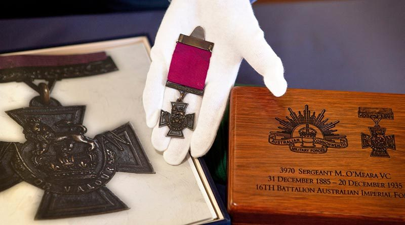 Sergeant Martin O'Meara's Victoria Cross medal at the Australian Army Museum of Western Australia in Fremantle. Photo by Chief Petty Officer Damian Pawlenko.