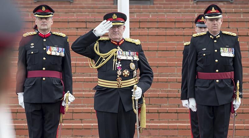 Now-retired Governor-General of Australia, the Honourable Sir Peter Cosgrove AK,, MC (Retd), takes a salute during his last military parade, at the Royal Military College - Duntroon. Photo by Leading Seaman Craig Walton.