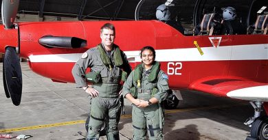 CSGT Tharane Thamodarar prepares for the flight of her life (thus far) in an Adelaide-based RAAF PC-9/A, with FLTLT Moriarty from ARDU. Image supplied by CSGT Tharane Thamodarar.