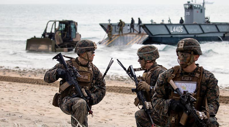 United States Marines at King's Beach near Bowen, Queensland, during Exercise Talisman Sabre 2019. Photo by Sergeant Jake Sims.