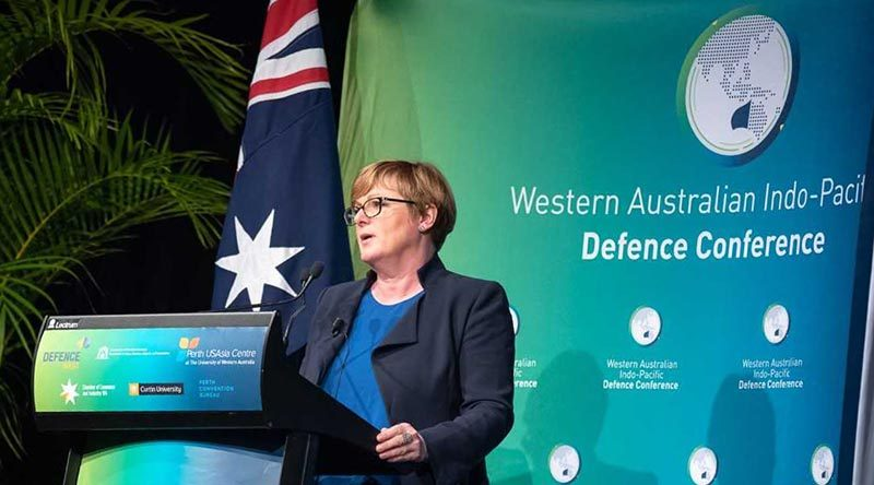 The then Assistant Minister for Home Affairs Linda Reynolds addresses the 2018 WA Ind0-Pacific Defence Conference. Senator Reynolds will address the 2019 conference as Minister for Defence. Photo supplied.