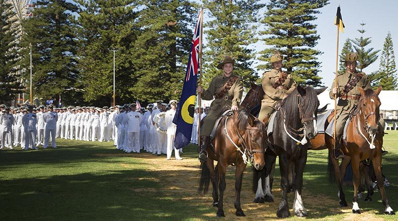 Members of the 10th Light Horse Re-Enactment Group on ANZAC Day 2017 in Esplanade, WA. Photo by Chief Petty Officer Damian Pawlenko.
