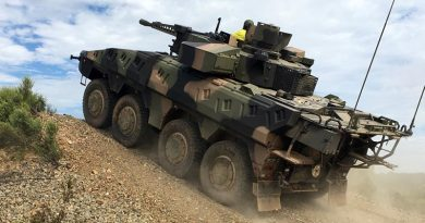 A Rheinmetall Boxer CRV negotiates an obstacle on the Driver Training Circuit at Puckapunyal. Photo by Lieutenant Colonel Chris McKendry.