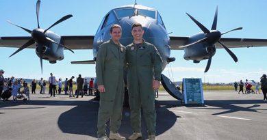 Flight Lieutenants Stuart Pollackand Evan McFarland proudly show off their C-27J Spartan in Brisbane.Photos by Christabel Migliorini.
