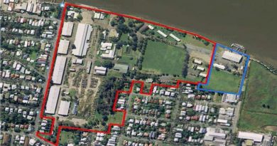 The Bulimba Barracks site in Brisbane as sold –red boundary indicates the sale area, blue boundary indicates the new Defence boundary now commissioned as HMAS Moreton.