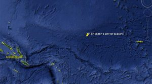 The scene of the rescue, between Tuvalu and Solomon Islands. Google Earth.