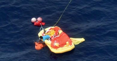 A Royal New Zealand Air Force P-3K2 Orion has found the last crew member overboard from the Chinese fishing vessel Jin Xiang 6, which had been damaged by fire. NZDF photo.