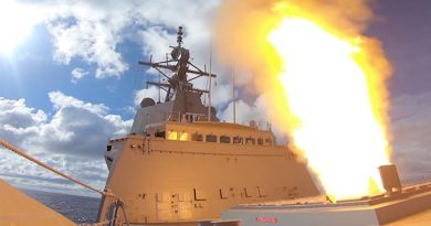 HMAS Hobart fires its first missile in Australian waters. The ship had already fired a dozen or more missiles during trials/training in America. ADF video capture.
