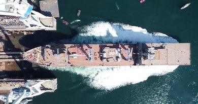 NUSHIP Stalwart slips into the water in Ferol, Spain, during her well-attended ceremonial launch. Navantia drone image.