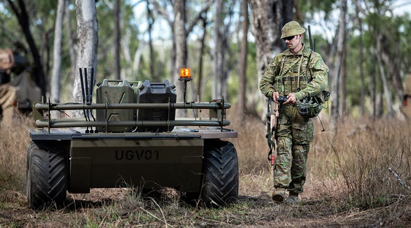 Corporal Aaron Le Jeune from the 9th Force Support Battalion – a sub-unit of the newly renamed 17th Sustainment Brigade – trials an unmanned ground vehicle during Exercise Talisman Sabre 2019 at Shoalwater Bay Training Area. Known as the Mission Adaptable Platform System Mule, the six-wheeled device is capable of hauling more than 500kgs of equipment and can be configured into several specialist roles, including being fitted with a hydraulic lifting arm, a surveillance module or combat litters for the carriage of wounded soldiers. Photo by Sergeant Jake Sims.