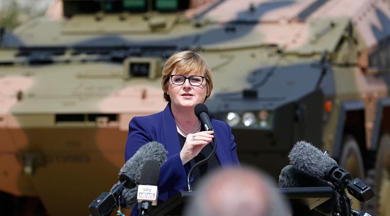 Minister for Defence Linda Reynolds speaks at the acceptance ceremony for the Australian Army's first Boxer vehicle at Enoggera Barracks, Brisbane. Photo by Sergeant Max Bree.
