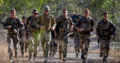Soldiers from the New Caledonian Armed Forces run in an endurance event, with an Australian Army officer as their observer, during Exercise Hydra 2019 at Greenbank Training Area, Queensland, Australia. Photo by Gunner Sagi Biderman.