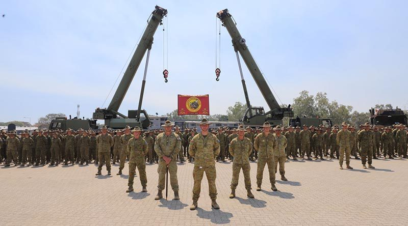Australian Army Force Support Battalion during the Force Support Element 11 farewell parade at Lavarack Barracks, Townsville. Photo by Private Paensuwan.