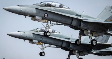 Two Royal Australian Air Force F/A-18 Hornets take off at Avalon, Victoria. Photo by Corporal Jessica de Rouw.