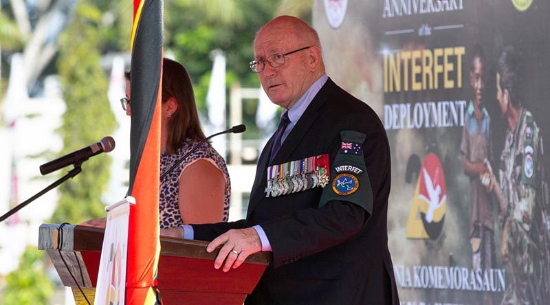 INTERFET Commander and former Governor-General of Australia, Sir Peter Cosgrove addresses officials and veterans at the INTERFET 20th anniversary commemorative ceremony in Dili, Timor-Leste. Photo by Corporal Tristan Kennedy.