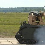 Unmanned ground vehicle fires Javelin and guns
