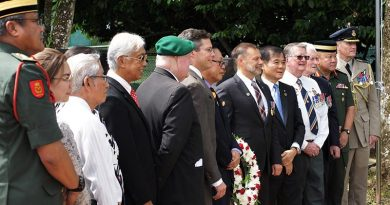 Participants in the official Service of Commemoration for those who fought and died in two undeclared wars fought on the Malay Peninsula and in northern Borneo in the 1960s – the Malayan Emergency and the Indonesian Confrontation with Malaysia – at The Heroes' Cemetery in Kuching, Sarawak. Photos by Major (ret'd) Paul Rosenzweig.