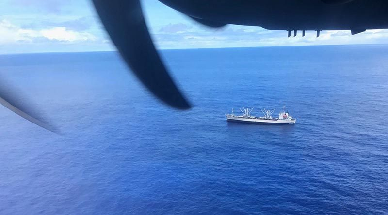 A Royal Australian Air Force C-27J Spartan investigate a fishing vessel spotted during an Operation Solania maritime patrol. RAAF photo.