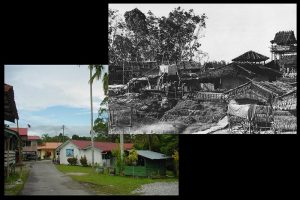 Then and now: the 'A' Company, 3RAR position at Kampung Stass, now the site of Sekolah Kebangsaan Stass (1965 image by Corporal Bill Lagas, 3RAR).