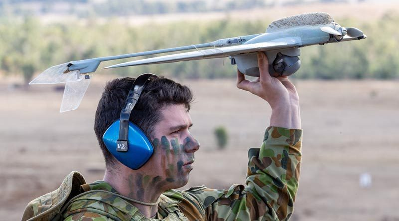 Corporal James Townsend, Combined Arms Training Centre, demonstrates the Wasp unmanned aerial system during Exercise Chong Ju 2019 at Puckapunyal Training Area, Victoria. Photo by Corporal Kyle Genner.