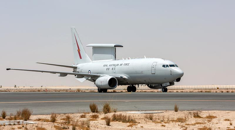 A Royal Australian Air Force E-7A Wedgetail arrives at the Australian Defence Force's main operating base in the Middle East region for Operation Okra missions. Photo by Corporal Dan Pinhorn.