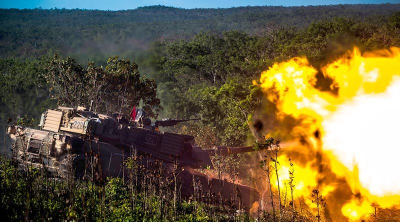 An Australian Abrams main battle tank fires its gun during Exercise Southern Jackaroo 17 at Mount Bundey Training Area, Northern Territory. Photo by Captain Dean Muller
