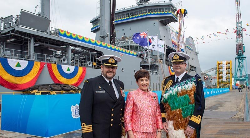 Captain Simon Rooke, who will be the Commanding Officer of the Royal New Zealand Navy's newest ship, Aotearoa, Governor-General Dame Patsy Reddy and New Zealand's Chief of Navy Rear Admiral David Proctor at the ship's naming ceremony at the Hyundai Shipyard in South Korea. RNZDF photo.